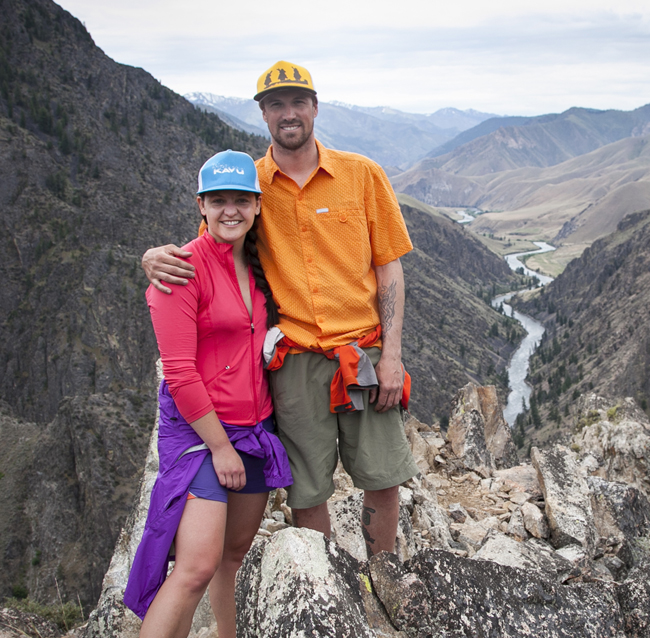 Como and fiancé high above the Middle Fork